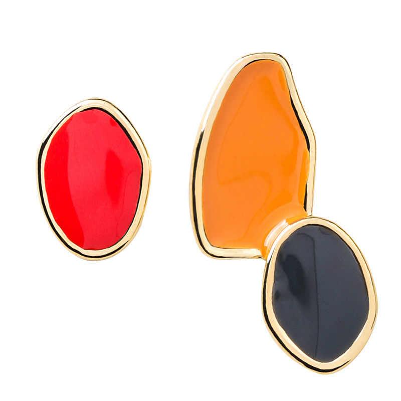 Yeni tasarım Vintage renkli emaye düzensiz geometrik asimetrik Oval yuvarlak uzun damızlık küpe kadınlar kız takı hediyeler