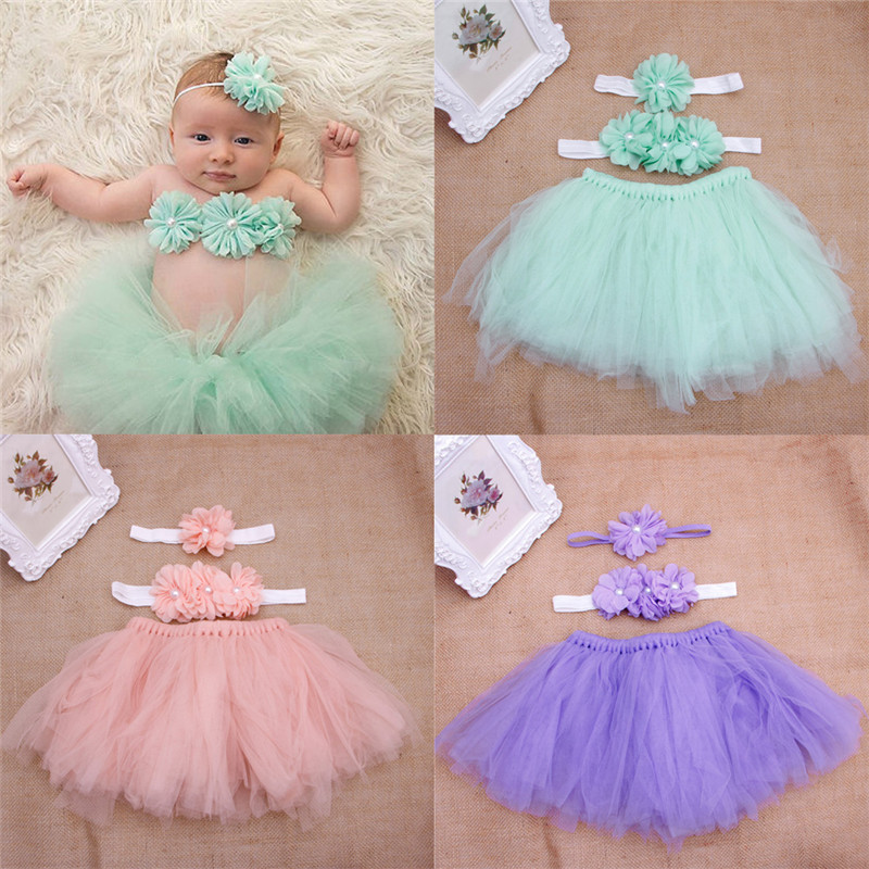Baby Toddler Girl Flower Clothes+Hairband+Tutu Skirt Photo Prop Costume Outfits 3PCS skirt W15