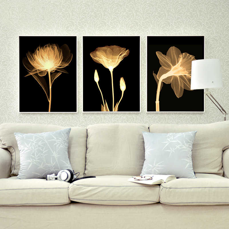 3Pcs Modern Flower Canvas Painting Wall Art Picture Print Living Room Home Decor