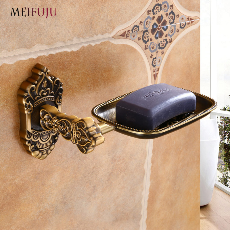 Soap Dishes White Wall Mounted Soap Holder Antique Aluminum Soap Basket Dish For WC Bathroom Accessories Bronze Bath Products