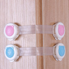 Baby Safety Cartoon bear Cabinet Locks & Straps Plastic Lock for Children Wardrobe Child Protection Blocker Baby Safety(China)