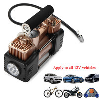 Double Cyclinder Car Tire Tyre Inflator 300W 150PSI Air Pump Compressor DC 12V Display Tire Pressure with LED Light Durable Safe