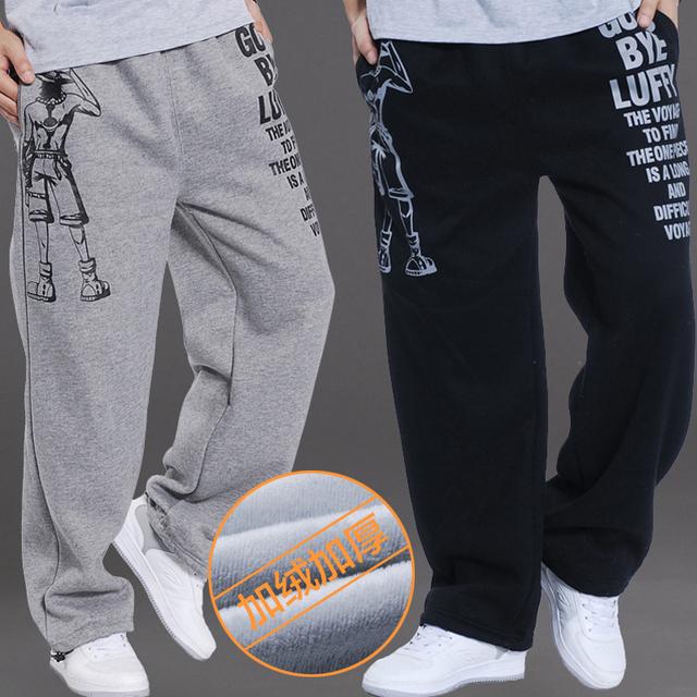El otoño y el Invierno Masculina, Además de Terciopelo Más Tamaño Pantalones Grandes Hombres Pantalones Sueltos y Casual Engrosamiento Térmica Pantalones Pantalones Rectos