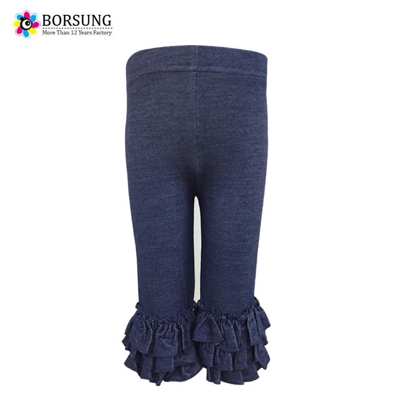 Children Knit Girls Leggings Summer Baby Girls Capris Length Pants Blue Cotton Soft Ruffle Toddler Girls Leggings Kids Trousers girls lettuce edge trim ruffle hem pants