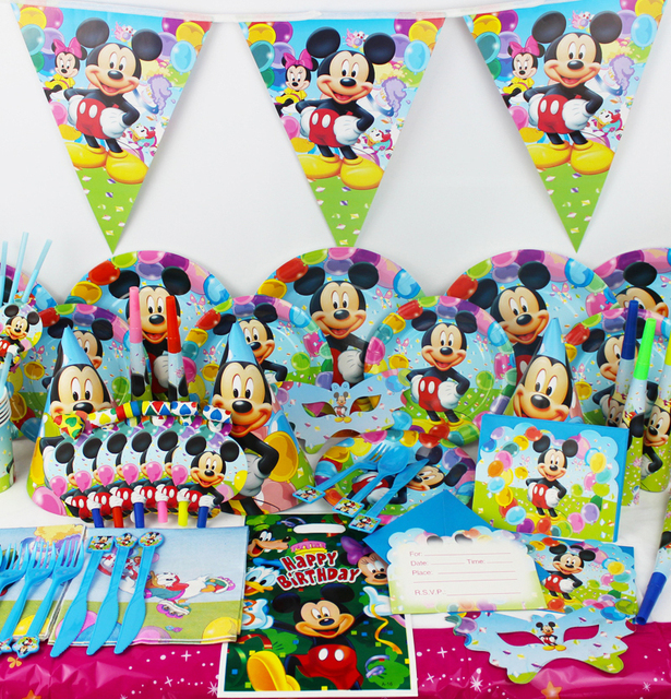 Us 220 78pcs Mickey Mouse Theme Baby Birthday Party Decorations Kids Evnent Party Supplies Party Decoration In Disposable Party Tableware From Home