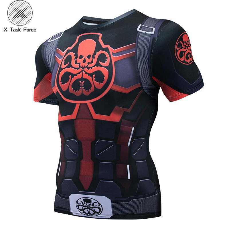 Hydra Captain American 3D Printed T Shirts Men Avengers 4 Endgame Quantum War Compression Shirt Cosplay Costume Tops For Male