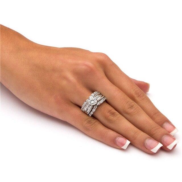 Di lusso di Modo D'argento di Colore Da Sposa Set Anello per Le Donne con Asfaltata Micro Zircone Cristallo Monili di Cerimonia Nuziale 3 pz/set Anello di Fidanzamento