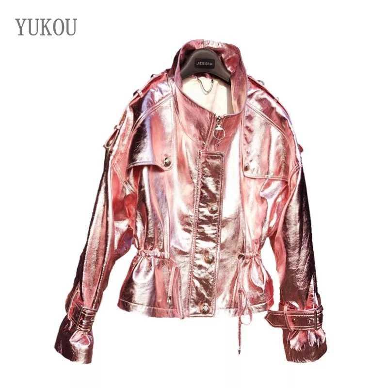 YUKOU abrigo de mujer de moda de cuero de piel de oveja fácil Mujer Chaquetas de ropa de cuero de piel de oveja de cuero Real hermosa rosa
