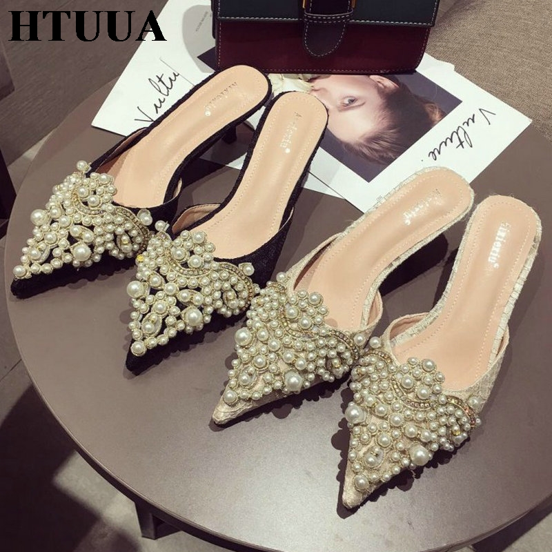 HTUUA Luxury Slippers Women Designer Slides Ladies Brand Mules Shoes Women Dress Shoes Pointed Toe Heels Pearl Slippers SX2439HTUUA Luxury Slippers Women Designer Slides Ladies Brand Mules Shoes Women Dress Shoes Pointed Toe Heels Pearl Slippers SX2439