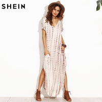 SHEIN Summer Women Dresses 2017 Tie Dye Print Side Split Loose Long Dress Curved Hem V