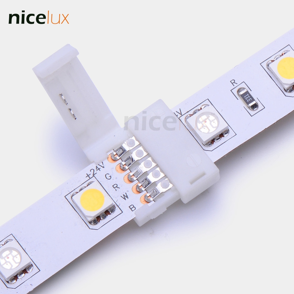 5pcs RGBW LED Strip Connector 5 pin 12mm 5050 strip to strip joint for 12~24V IP20 non-waterproof making gapless connection 5pcs 2pin 4pin 5pin led strip connector for 8mm 10mm 12mm 3528 5050 5630 rgb rgbw ip20 non waterproof led strip to strip joint