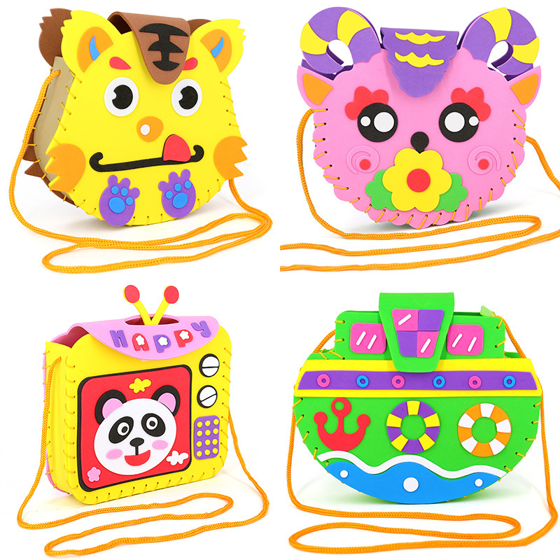 Children DIY EVA Handmade Bags DIY 3D Stickers Craft Toys Kindergarten DIY Toys Handmade Materials Bags Cartoon Small Handbags