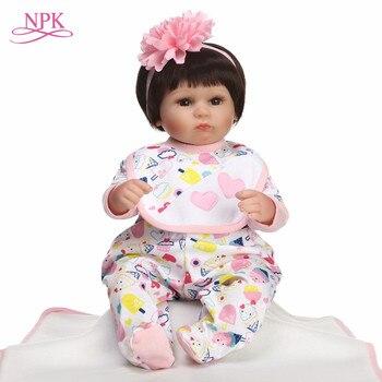 NPK 40CM Real Silicone Girl doll Reborn Baby Girl's Toys Realistic Newborn Princess Babies Fashion Dolls Toy Bebe Reborn