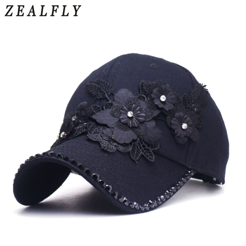 2019 New Brand   Baseball     Cap   For Girls Lifelike Flowers Women Summer   Caps   Casual Sun Casquette Luxury Rhinestones Hip Hop Hat