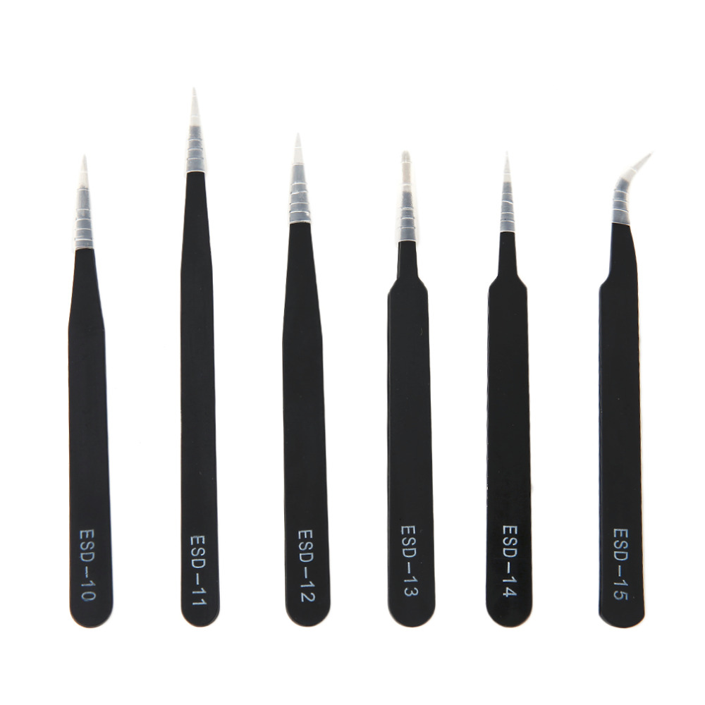 Newest 6pcs/set Portable Size Resists Corrosion Anti-static Tweezers For Repairing Electronic Maintenance Tools Black