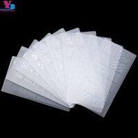 Transparent Rectangular Nail Stamping Plates 10pcs Lot Mix Designs Diagnostic Tool DIY Nail Art Design Polish