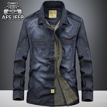 Excessive,high quality!2017 males's leisure lapel jean slim 100%cotton trend strong lengthy sleeve jeep shirts
