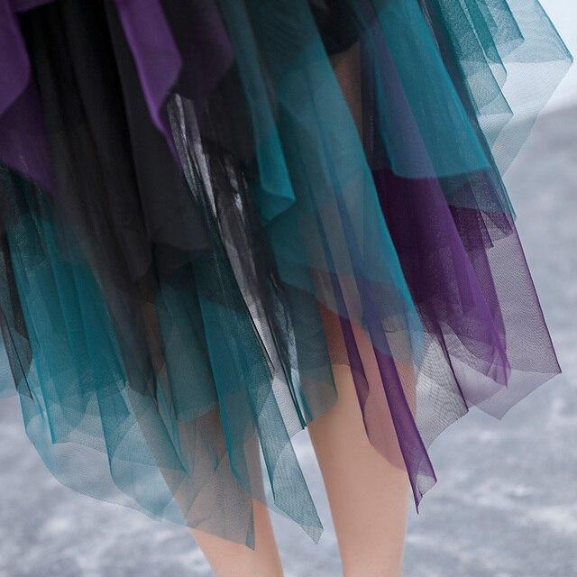 2017 mode tulle jupes longues hit couleur femmes de 4 couches maille jupe taille haute irrégulière adulte tulle jupe jupe tulle femme