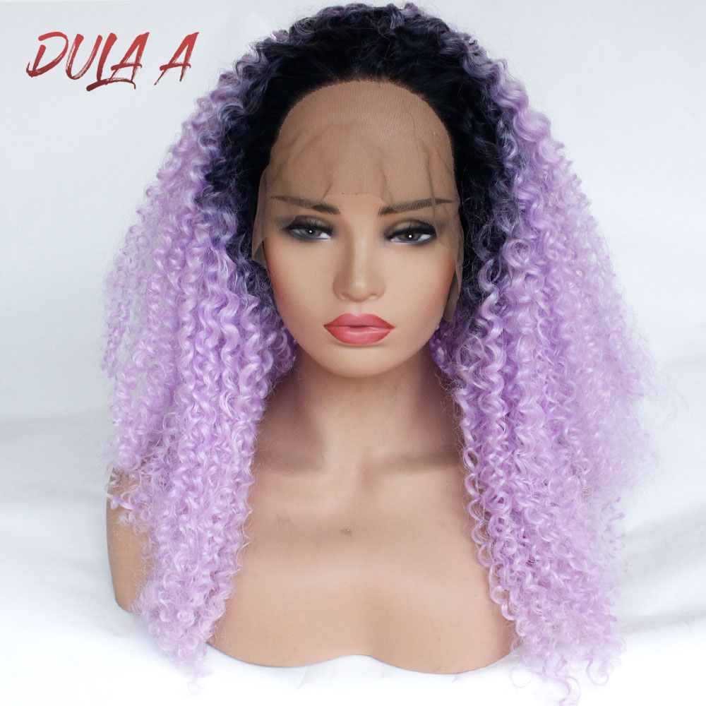 Hair Synthetic Lace Front Wig Long Curly Hair Ombre Purple/Black roots Heat Resistant Fiber wigs 24 inch Top Lace Curly Wig