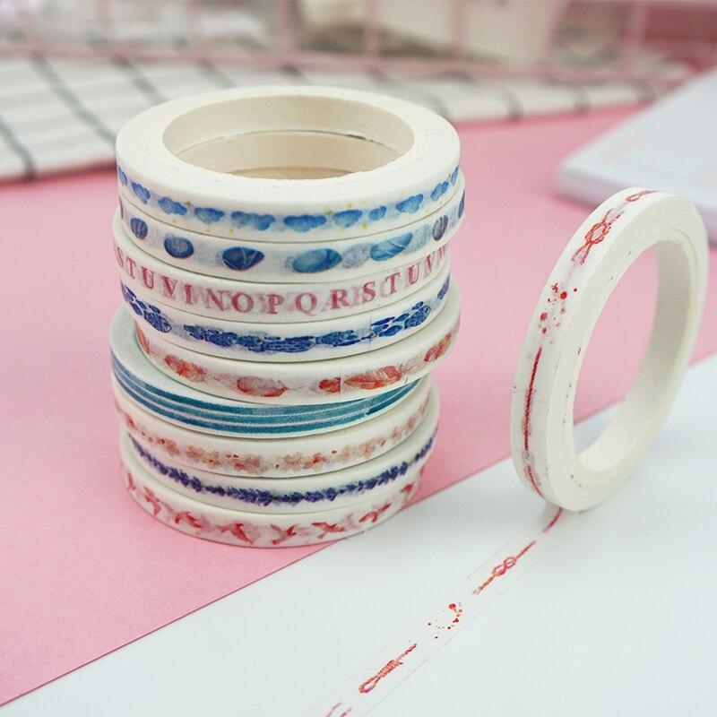 0.5cm*7m Cartoon Fresh Slim Washi Tape DIY Decoration Scrapbooking Planner Masking Tape Adhesive Tape Label Sticker