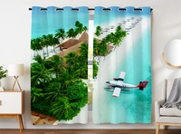 HommomH Curtains (2 Panel) Grommet Top Darkening Blackout Room Blue Sea Resort Beach Coconut Tree Plane
