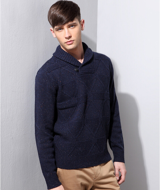 Mens Shawl Collar Sweater 2017 Winter New Arrival Knitted Pullovers