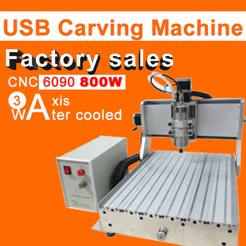 Hot sale CNC 6090 3axis 800w engraving machine usb port water cooling carving machine ball screw cutting machine mini 6090 desktop 3 axis cnc carving machine