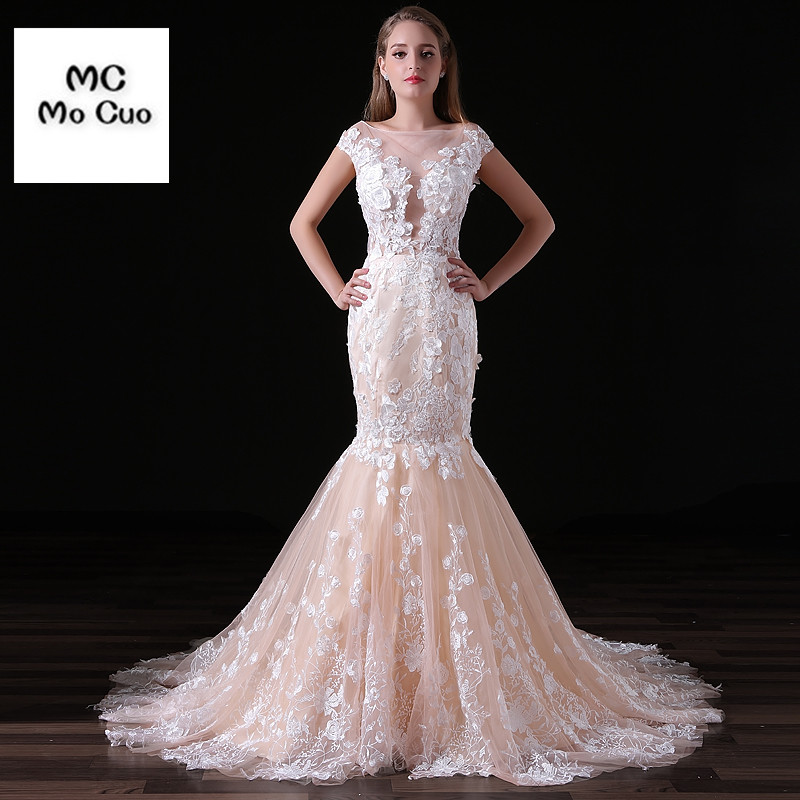 Vestido De Noiva 2017 New Elegant Lace Applique Tulle: Elegant Mermaid Wedding Dresses 2017 Sexy Vestidos De