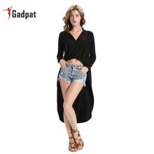 Gadpat New Fashion Women V Neck Sexy Silk Dress Long Split Irregular Autumn Winter Dark M L Xl 2xl Femme Robes Tunics Gowns