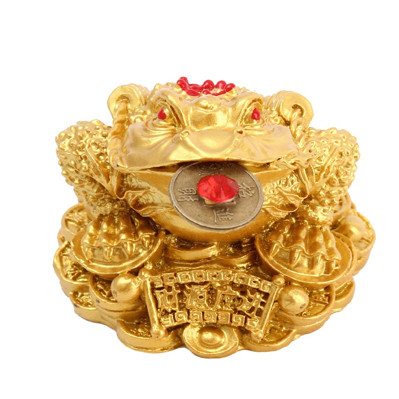 Feng Shui Toad Money Chinese Gold Frog Toad Feng Shui Gift LUCKY Fortune Wealth For Home Office Decoration Tabletop Ornaments