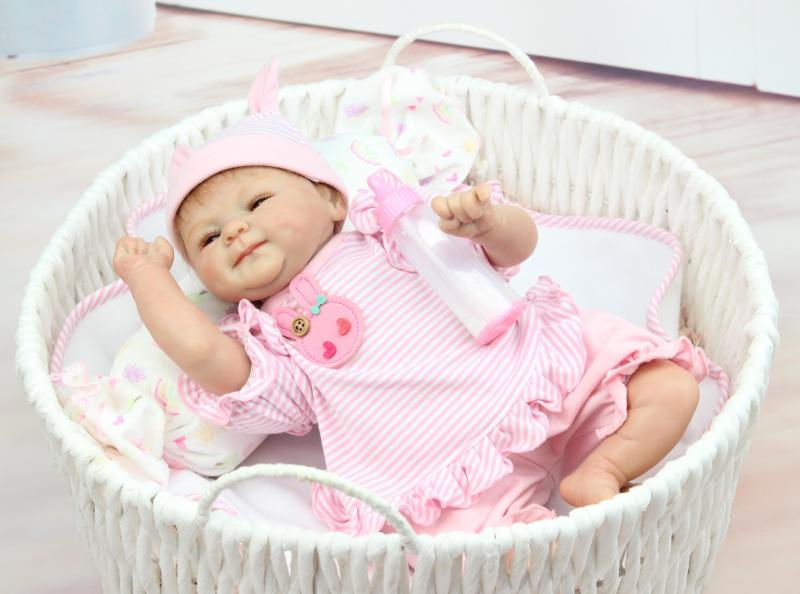 Hot Sale Lifelike Reborn Baby Doll 17 Inch 43 cm Newborn Girl Babies With Handmde pink stripe Clothes Kids Birthday Xmas Gift