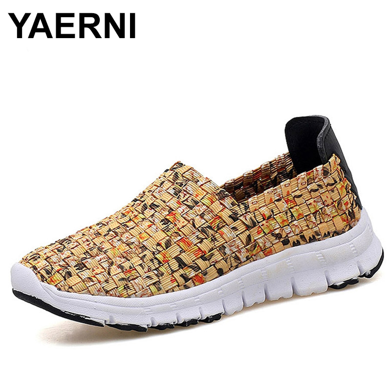 YAERNI Women Flats Summer Casual Shoes Breathable Female Woven Shoes Slip On Ladies Loafers Handmade Shoes Size 35-41 stainless steel exit button led light metal exit push button no nc com door exit switch door button for access control system
