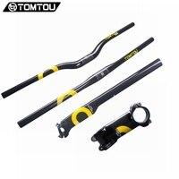 TOMTOU Cycling Carbon Handlebar Set Bicycle Accessories Bike Parts = Flat/Riser Handle Bar + Stem + Seat Post Yellow TC2T06