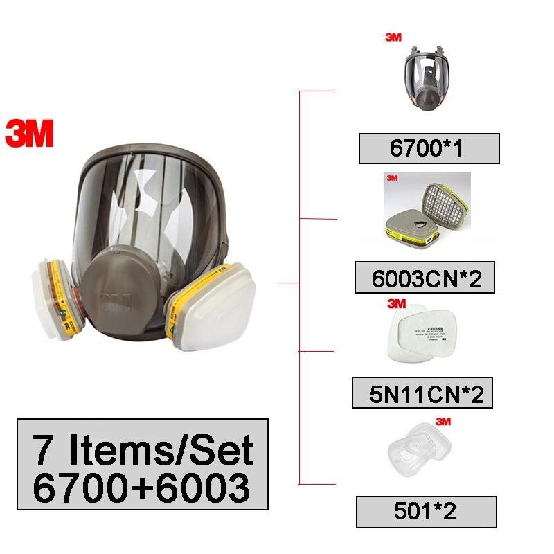 3M 6700+6003 Full Face  Mask Reusable Respirator Filter Mask Anti-Organic Vapor Acid Gas 7 Items For 1 Set LT095