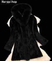 새로운 스타일의 패션 모피 코트 정품 여우 모피 칼라 후드, 좋은 품질 밍크 모피 코트, 여성 천연 블랙 코트 모피