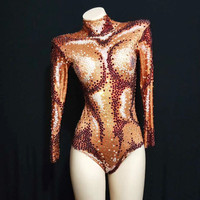 Festival Outfit Luxurious Rhinestones Leotard Stones Perspective Mesh Bodysuit Long Sleeves Sexy Stage Performance Costumes DJ