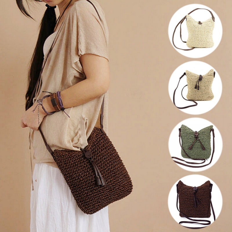 New Fashion Woven Shoulder Bags Straw Summer Women Weave Crossbody Beach Travel Handbag Female Bag Women Messenger Bags Bolsa handmade flower appliques straw woven bulk bags trendy summer styles beach travel tote bags women beatiful handbags