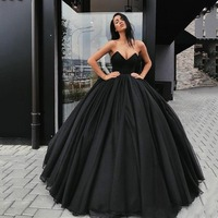 Eightree 2020 Gothic Wedding Dresses Black Vintage Ball Gown Sweetheart Strapless Simple Vestido De Noiva Bridal Dress Country