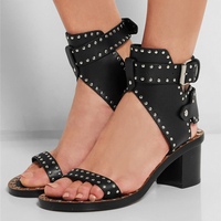 Rivets Stud Women Gladiator Sandals Casual Street Style Buckle Strap Open Toe Women Summer Shoes Rome Sandals Square High Heels