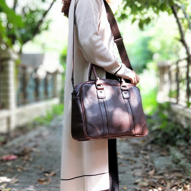 Fashion Women Leather Handbag Horizontal Literary Big A4 Docoment Shoulder Bags Dress OL Fashion Casual Briefcase