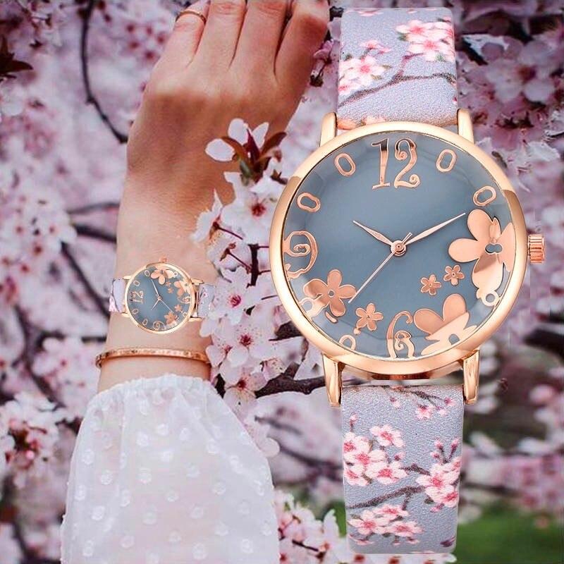 Women Creative Flower Watches Ladies Fashion Casual Leather Strap Quartz Girls Wristwatches Gift Clock Relogio Feminino