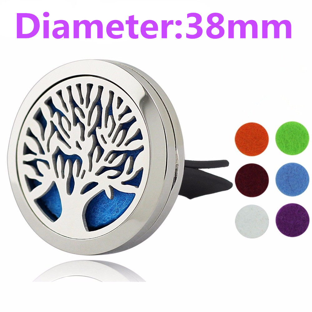 38mm Magnet Diffuser Stainless Steel Car Aroma Locket Free Pads Essential Oil Car Diffuser Lockets With 6 Pads