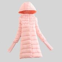 Зимние пальто 2016 ватные куртки женщин тонкий с капюшоном вниз хлопка мягкой куртки верхняя одежда женская зимняя куртка женщины