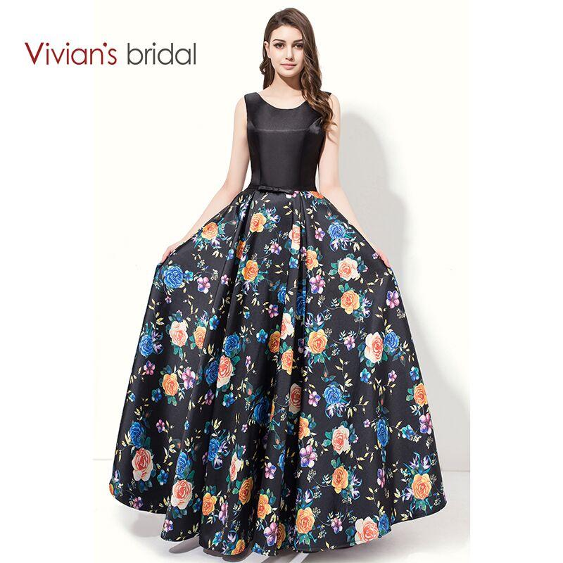 Vivian's Bridal A Line Aftonklänning Golvlängd Ärmlös Floral Print Aftonklänningar Prom Klänningar Lång AW220
