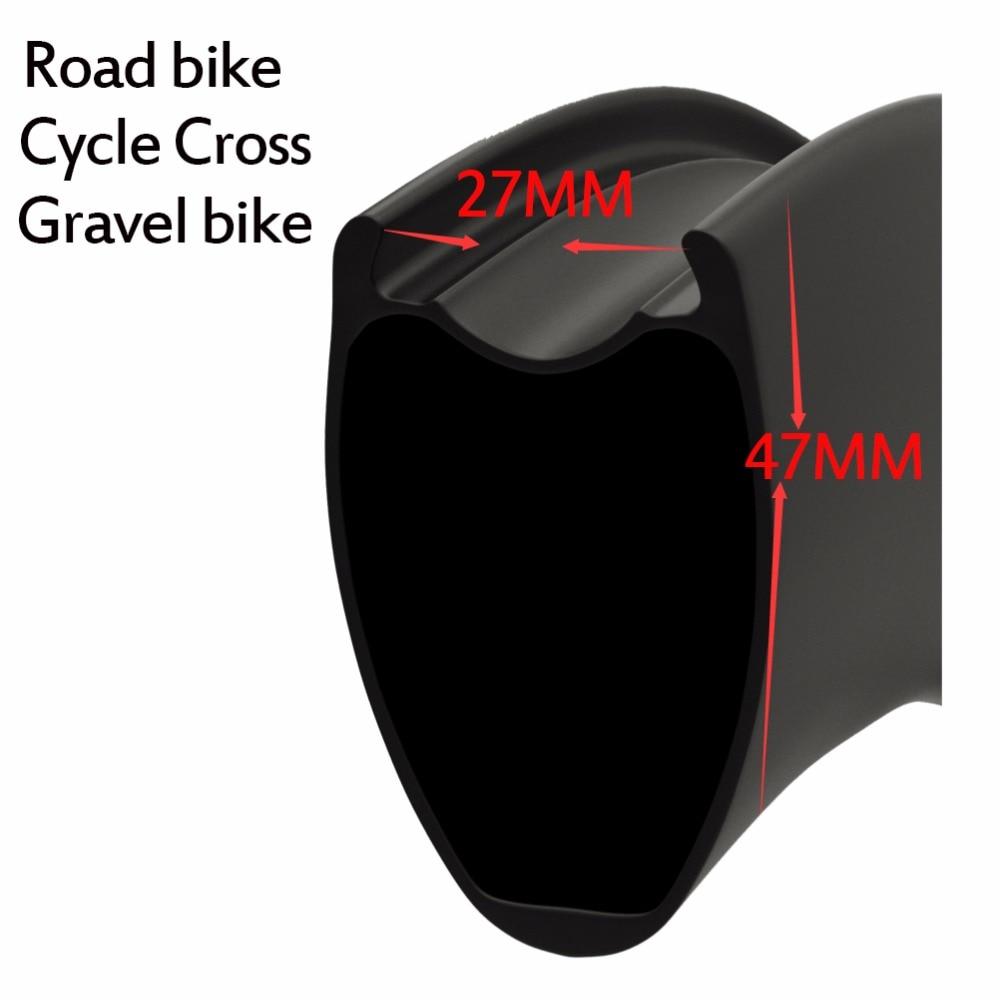 2018 New Carbon roues 47*27mm plus large jante plus aero Tubeless V-disque de frein de frein hub pour gravier Vélo vélo de Route roue carbone