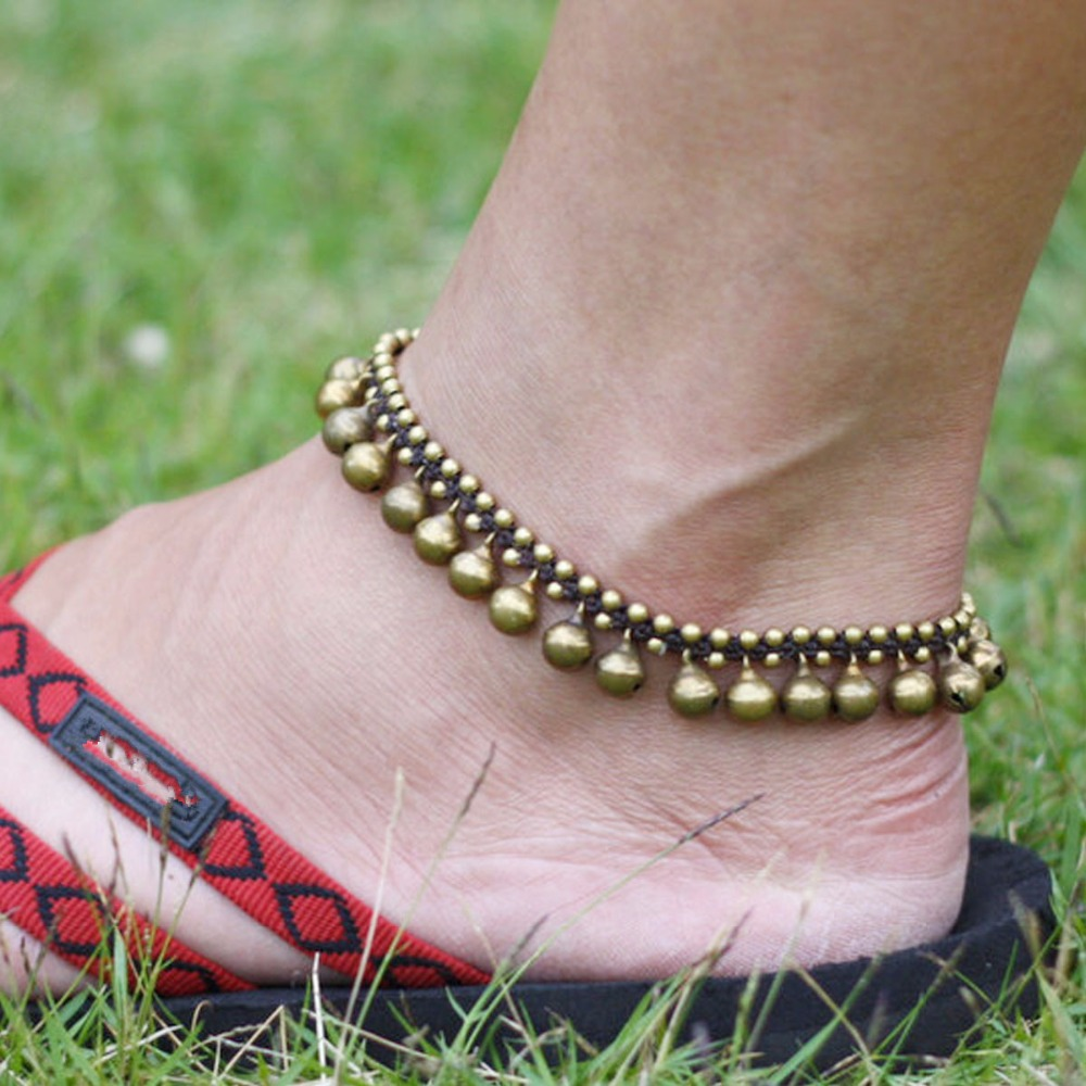 Vintage Brass Bracelet Foot Jewelry Pulseras Retro Anklet For Women Girl Ankle Leg Chain Charm Jingle Bell Beach Boho Jewelry