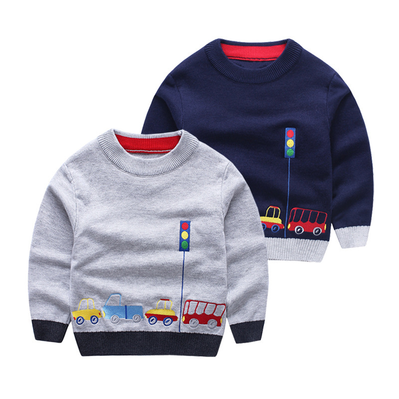 Boys Cotton Sweaters,Kids O-Neck Winter Clothes,Children Car Embroidery Casual Outerwear