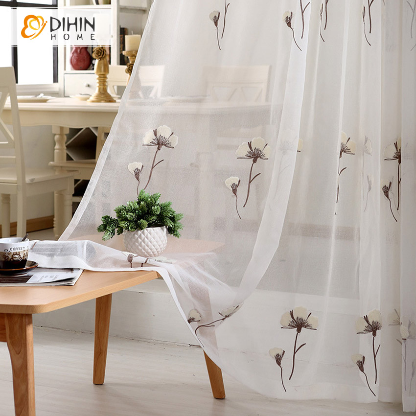 Cotton Canvas Black Eyelet Lined Curtain: DIHIN 1 PC 3D Embroidered Tulle Curtains For The Bedroom