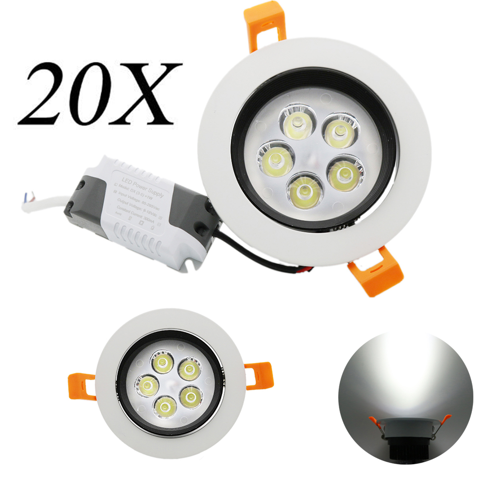 20X Ceiling Lights Projectors High Lumen No Flicker With Driver Cold White Warm LED Downlight 85-265V 5W LED Light