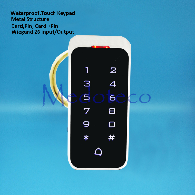 Waterproof Touch keypad 2000 Users Door RFID Access Control Keypad Metal Case Reader 125khz EM4100 ID Card Reader wg input rfid em card reader ip68 waterproof metal standalone door lock access control with keypad support 2000 card users